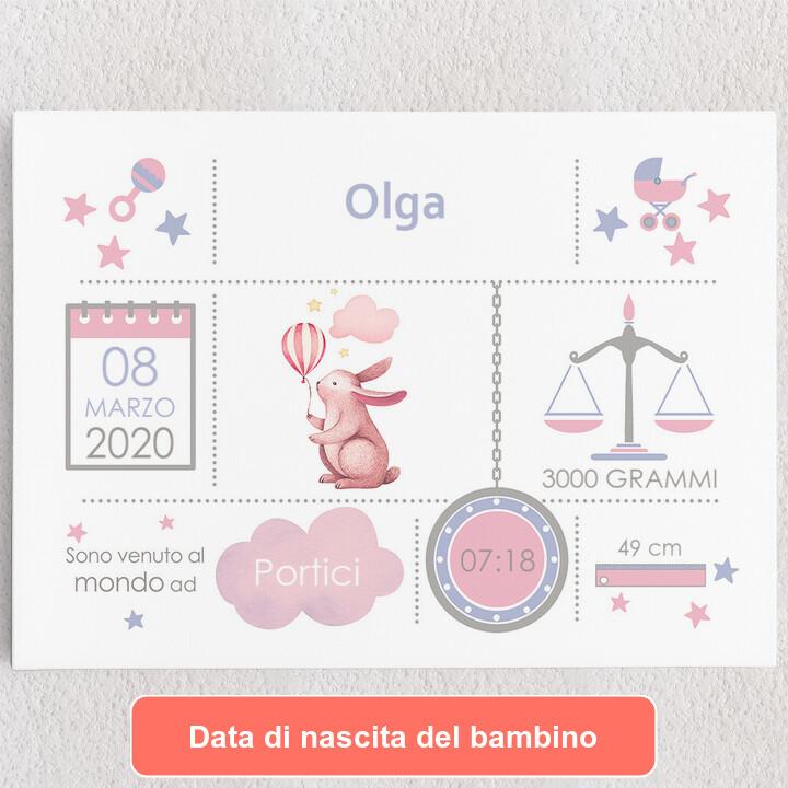 Tele personalizzate Tela Baby coniglio con palloncino