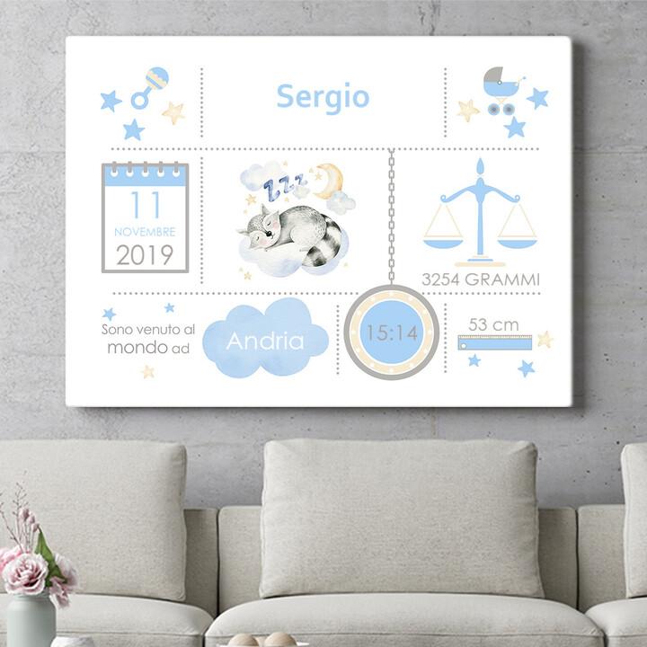 Regalo personalizzato Tela Baby procione