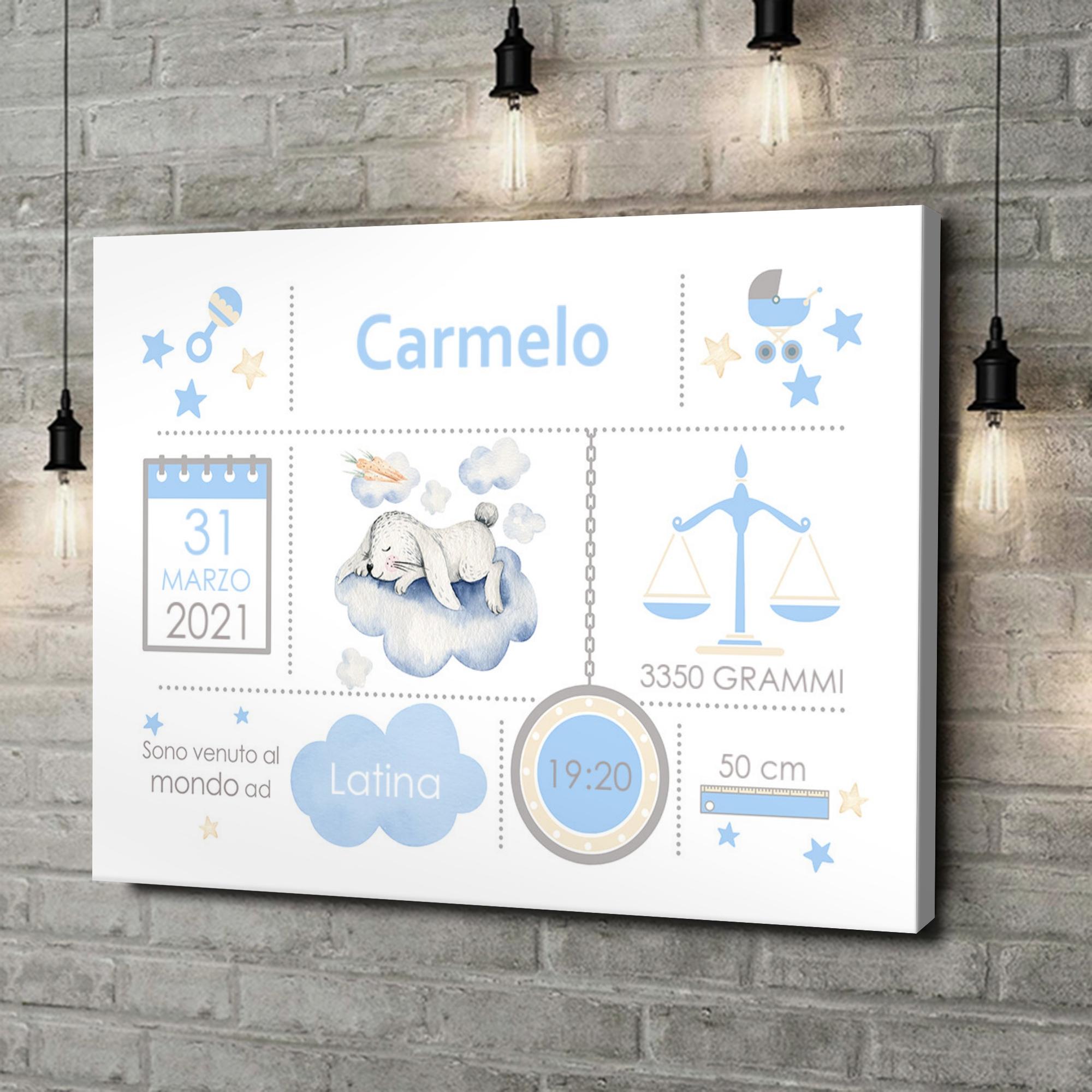 Stampa personalizzata su tela Tela Baby coniglietto sulle nubi