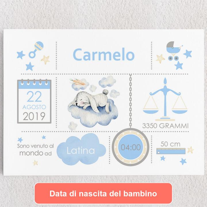Tele personalizzate Tela Baby coniglietto sulle nubi