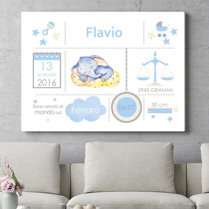 Regalo personalizzato Tela Baby elefante sogna