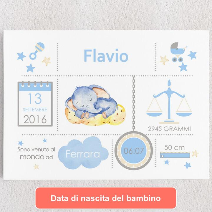 Tele personalizzate Tela Baby elefante sogna