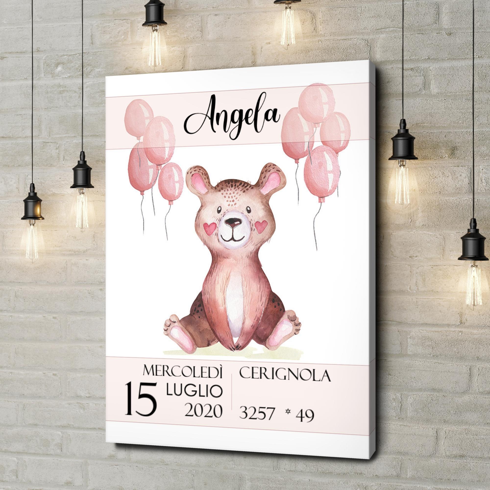 Stampa personalizzata su tela Tela per nascita orsacchiotto