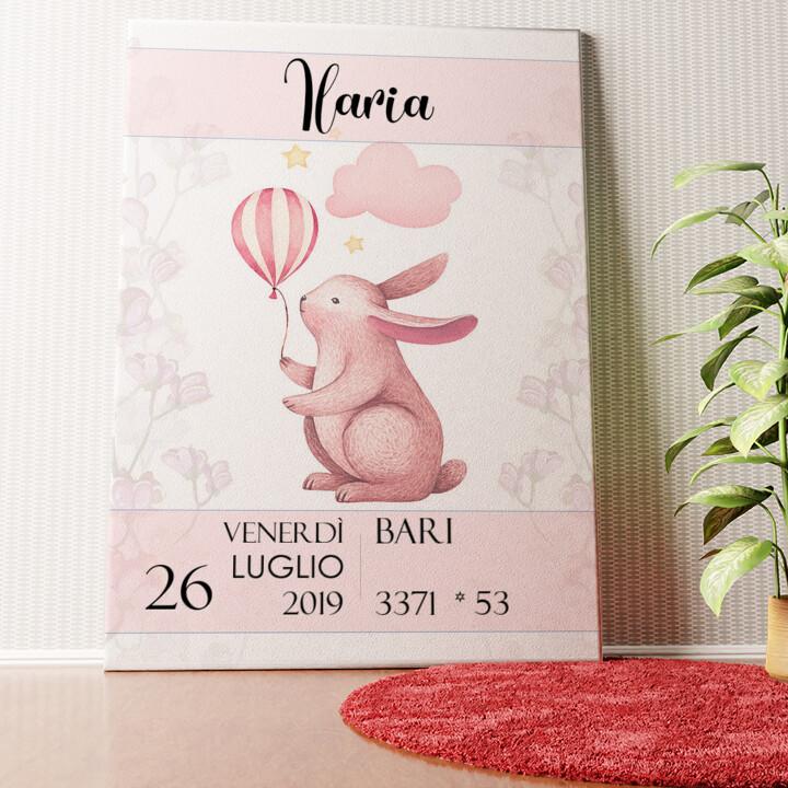 Tela personalizzata Tela per nascita coniglio con palloncino