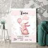 Regalo personalizzato Tela per nascita coniglio con palloncino