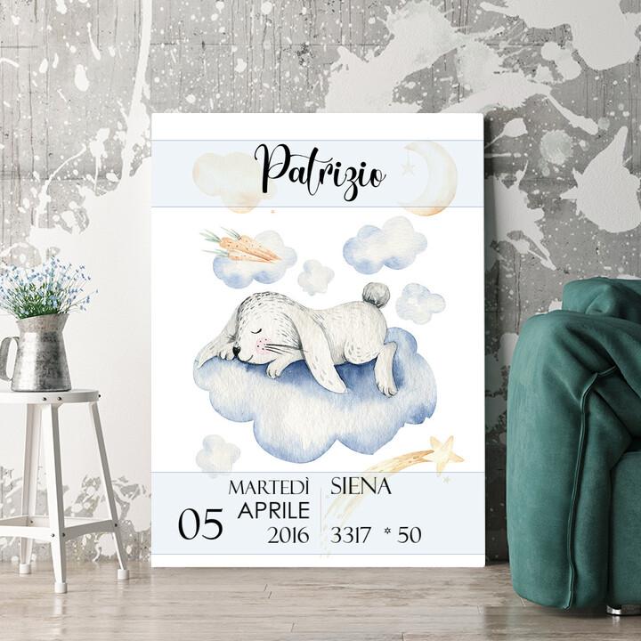 Regalo personalizzato Tela per nascita di coniglio che sogna