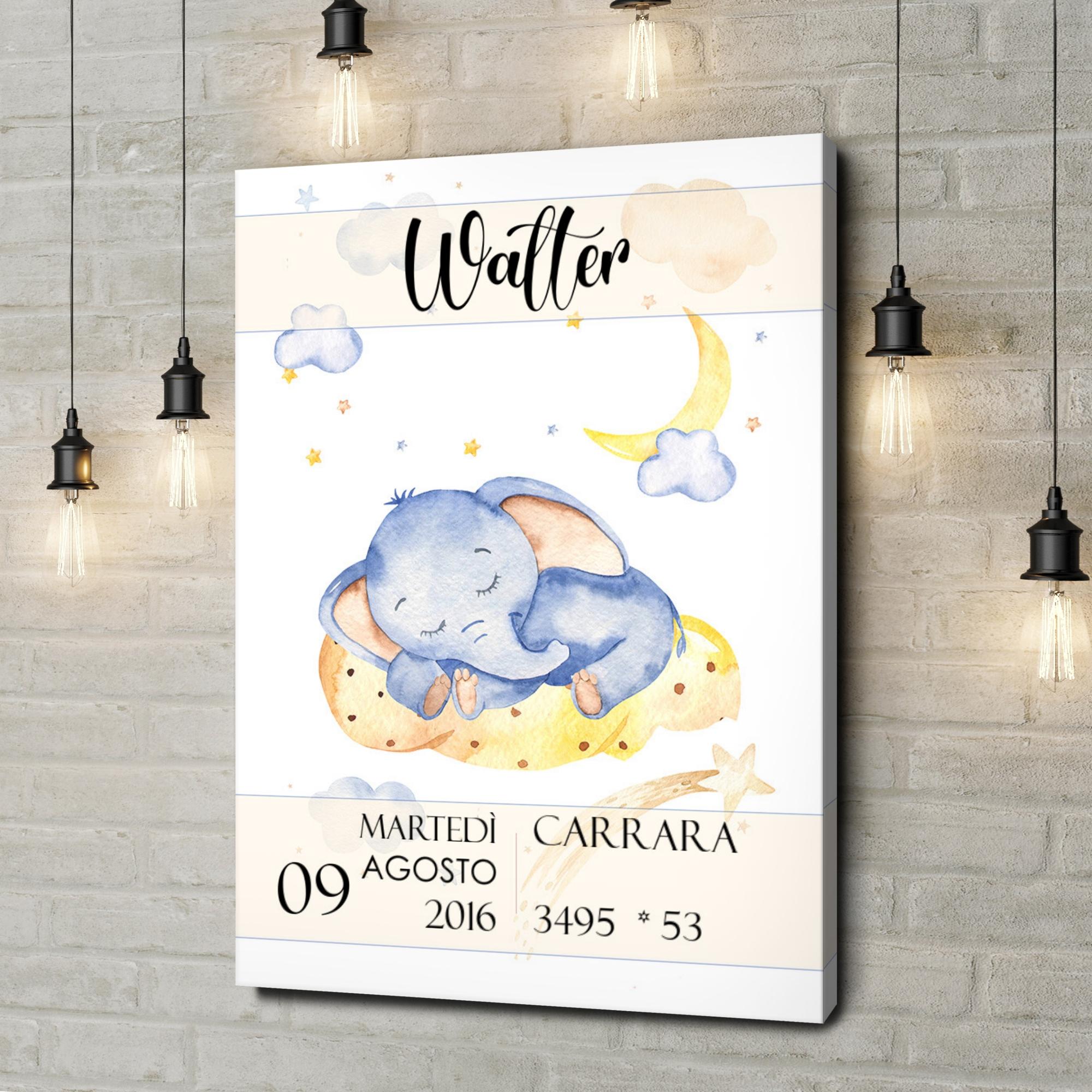 Stampa personalizzata su tela Tela per nascita elefanti nel sonno