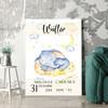 Regalo personalizzato Tela per nascita elefanti nel sonno