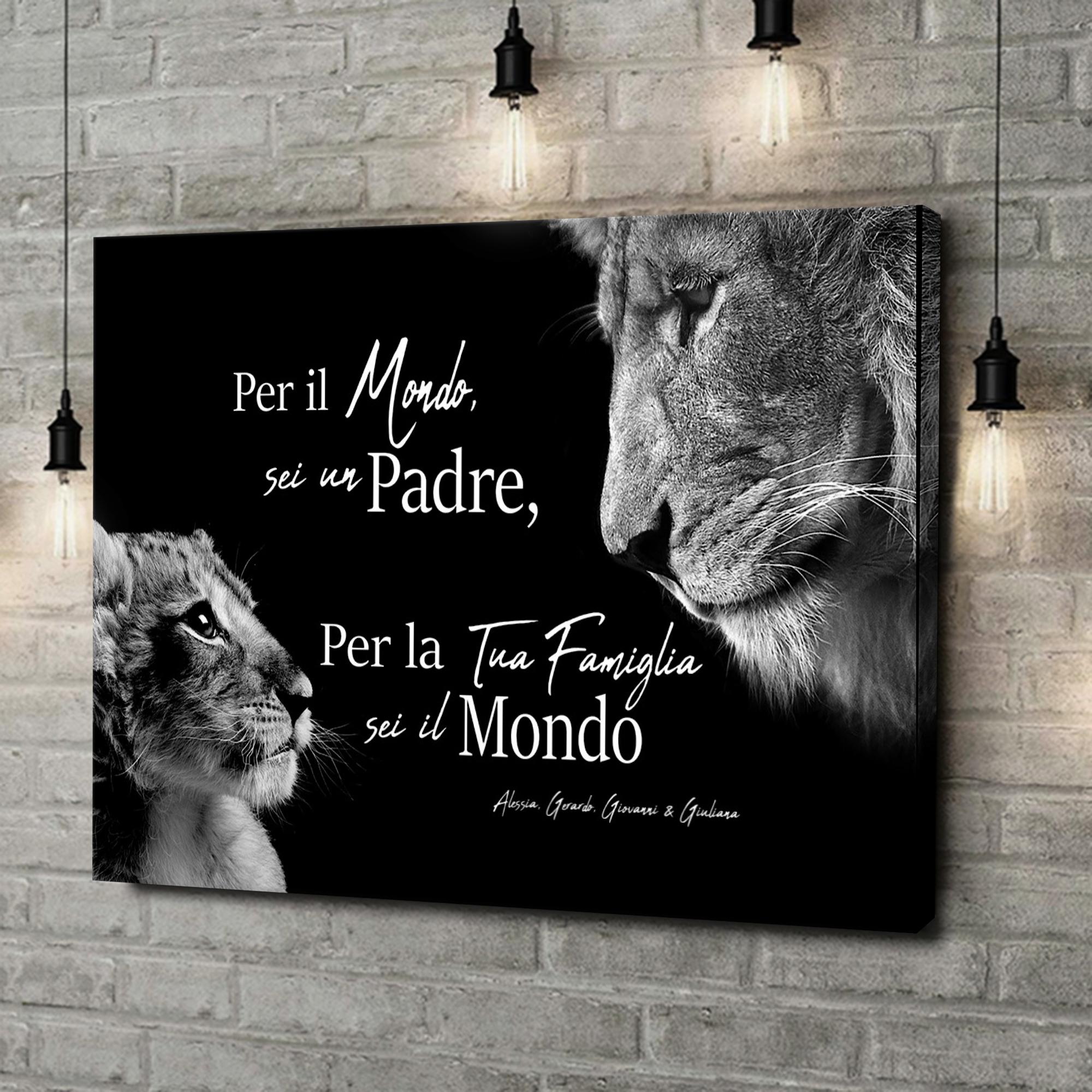 Stampa personalizzata su tela Padre leone (formato orizzontale)