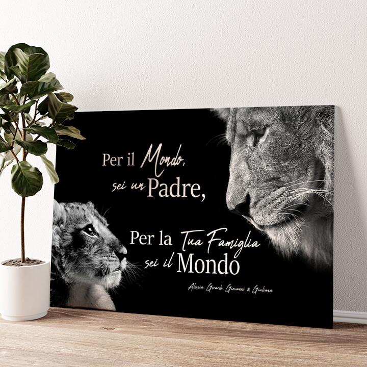 Padre leone (formato orizzontale) Tela personalizzata