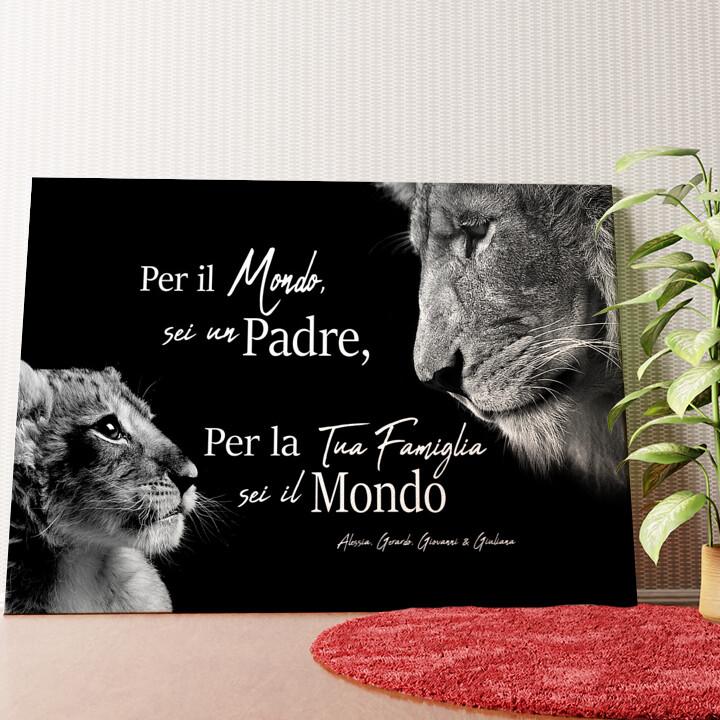 Tela personalizzata Padre leone (formato orizzontale)