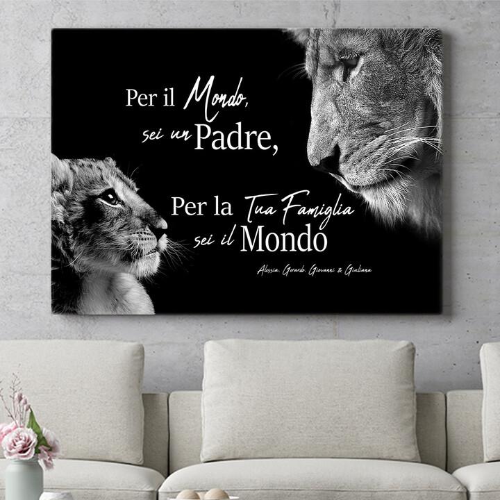 Regalo personalizzato Padre leone (formato orizzontale)