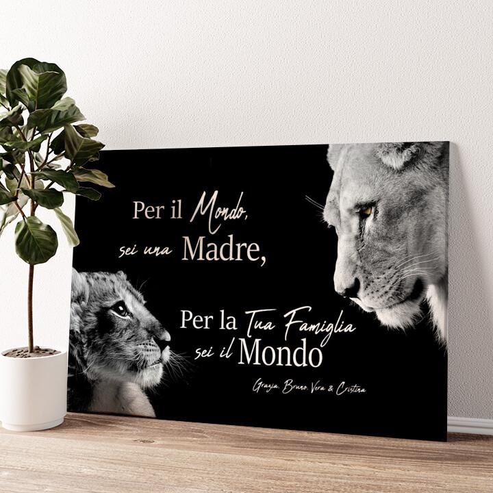 Madre leonessa (formato orizzontale) Tela personalizzata