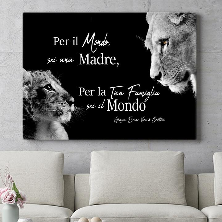 Regalo personalizzato Madre leonessa (formato orizzontale)