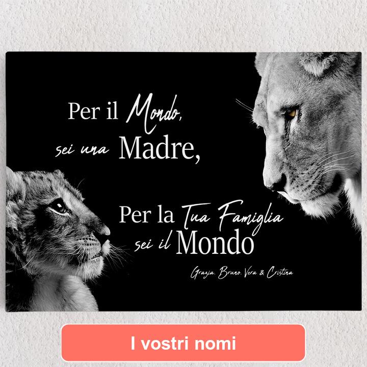 Tele personalizzate Madre leonessa (formato orizzontale)
