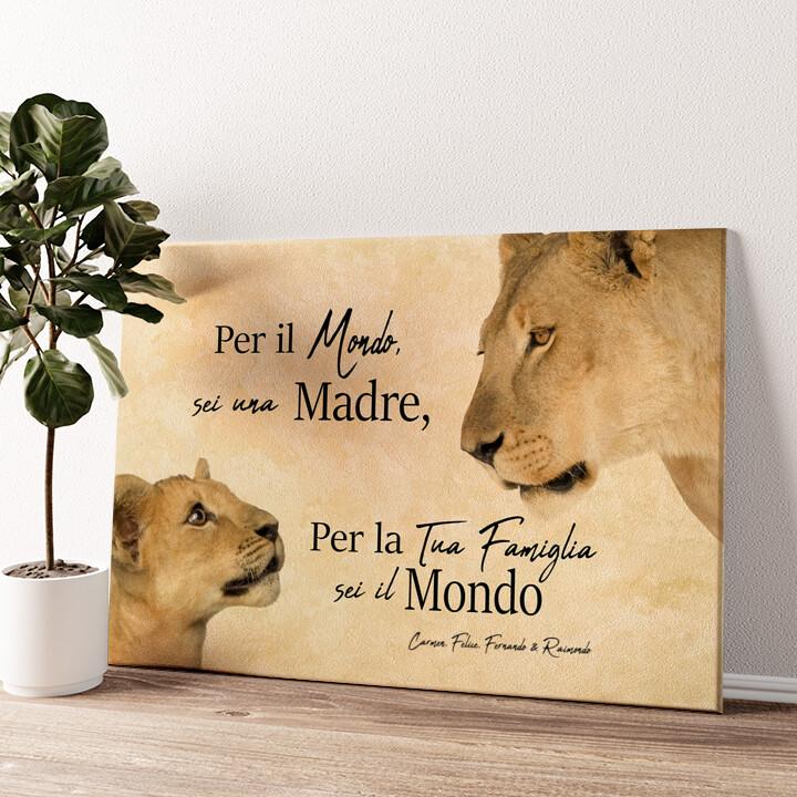 Madre leonessa 2 (formato orizzontale) Tela personalizzata