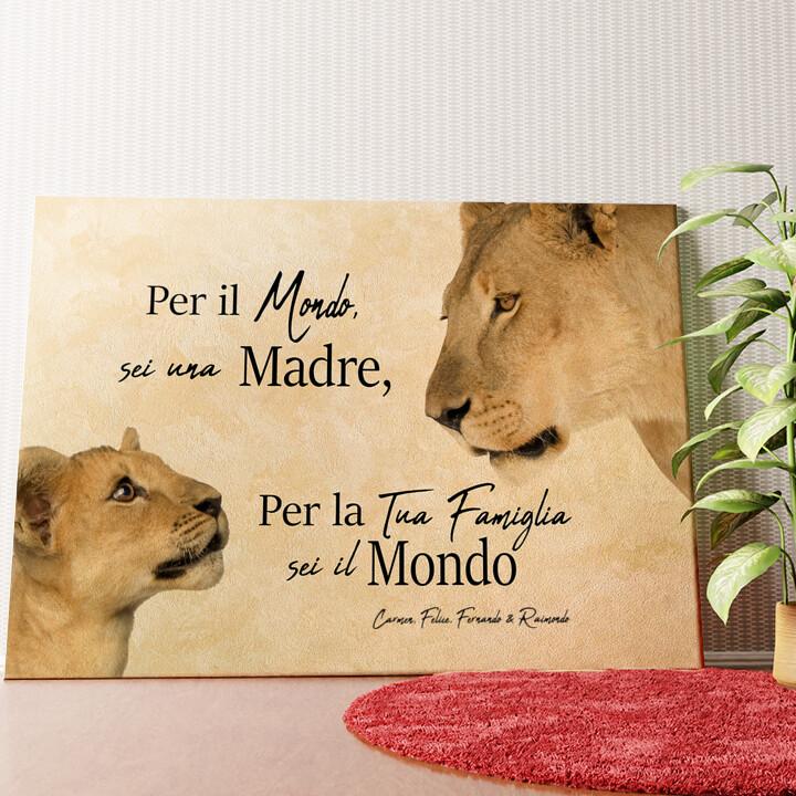 Tela personalizzata Madre leonessa 2 (formato orizzontale)