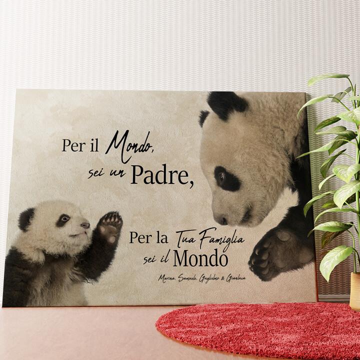 Tela personalizzata Papà Panda