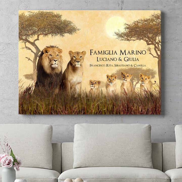 Regalo personalizzato Famiglia di leoni
