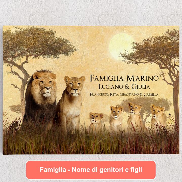 Tele personalizzate Famiglia di leoni