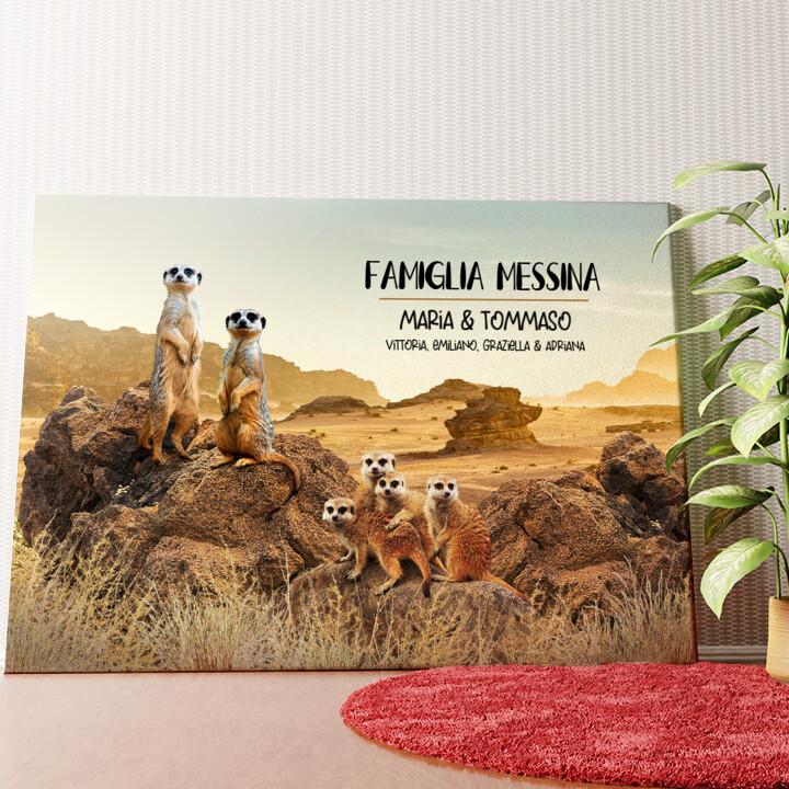Tela personalizzata Famiglia Meerkat