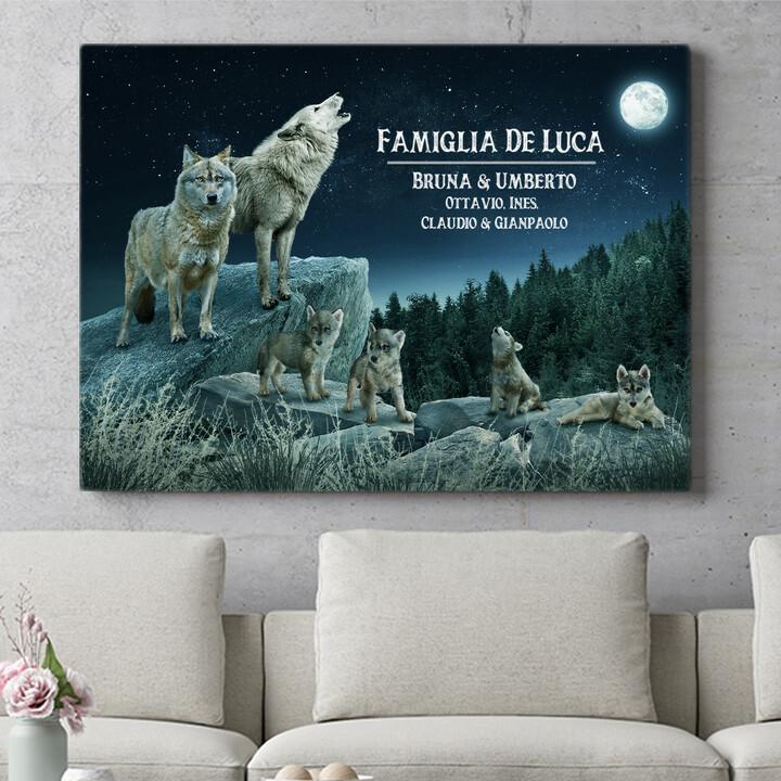 Regalo personalizzato Branco di lupi