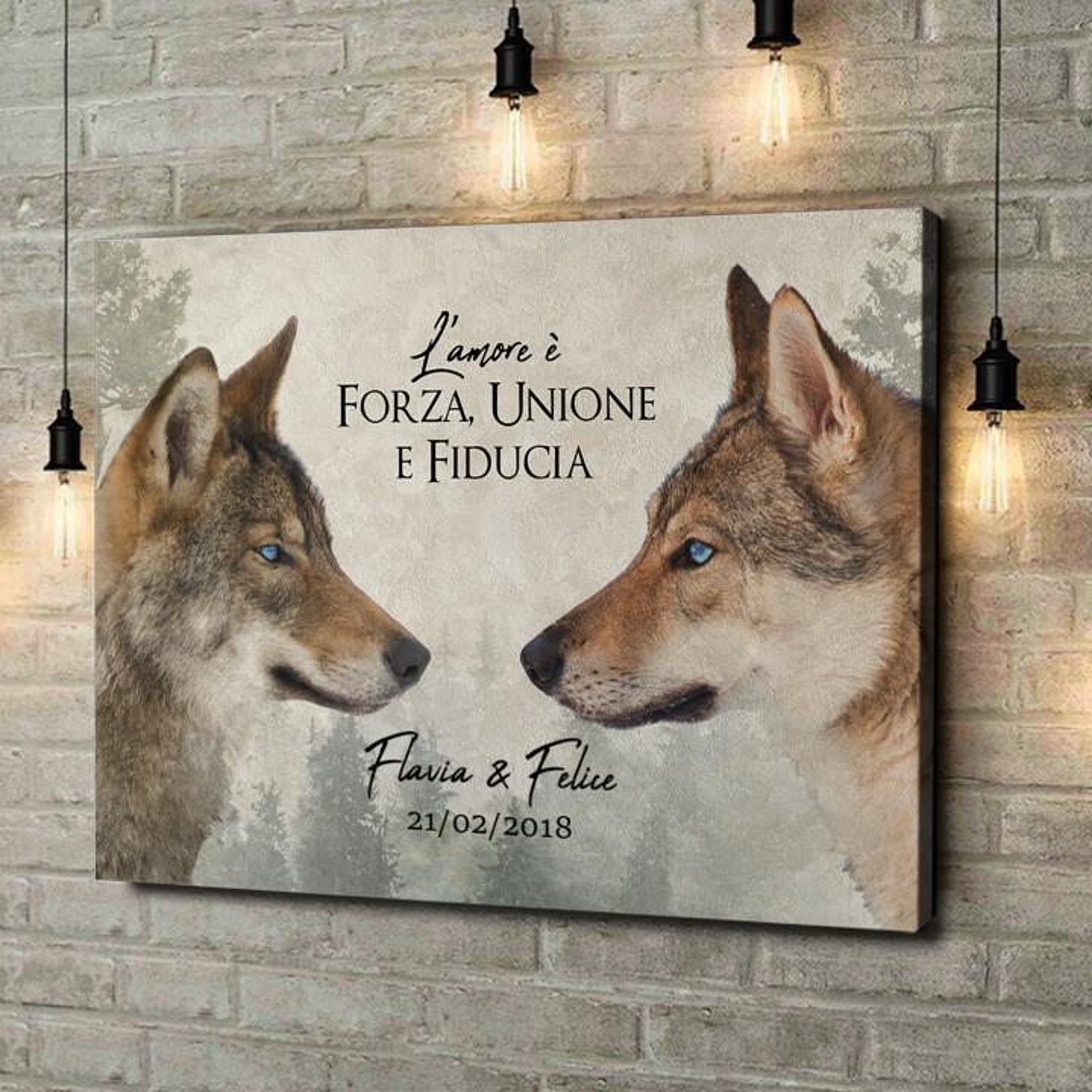 Stampa personalizzata su tela Amore di Lupi