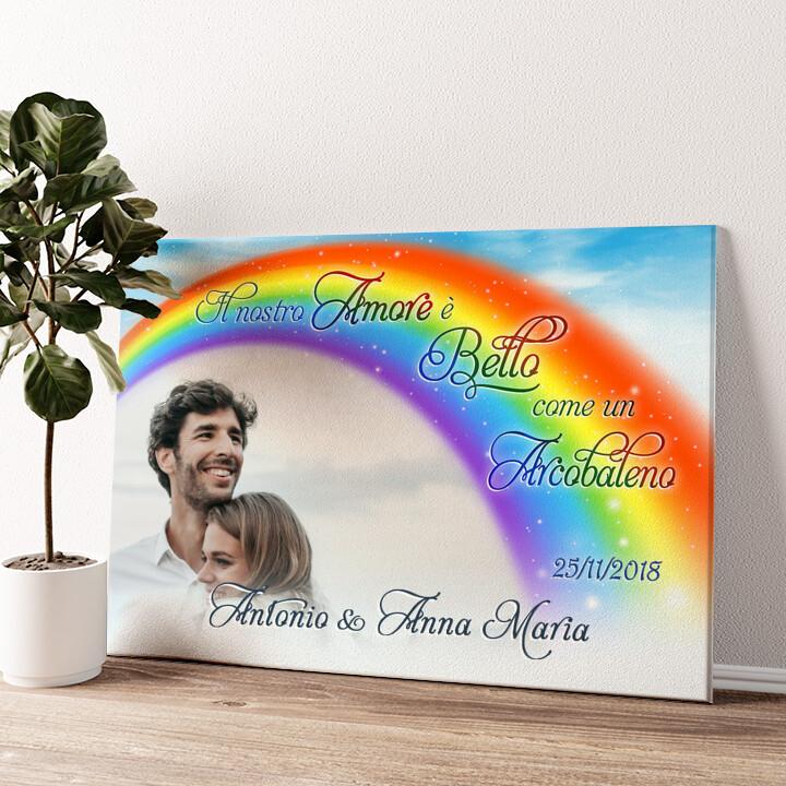 L'amore sotto l'arcobaleno Tela personalizzata
