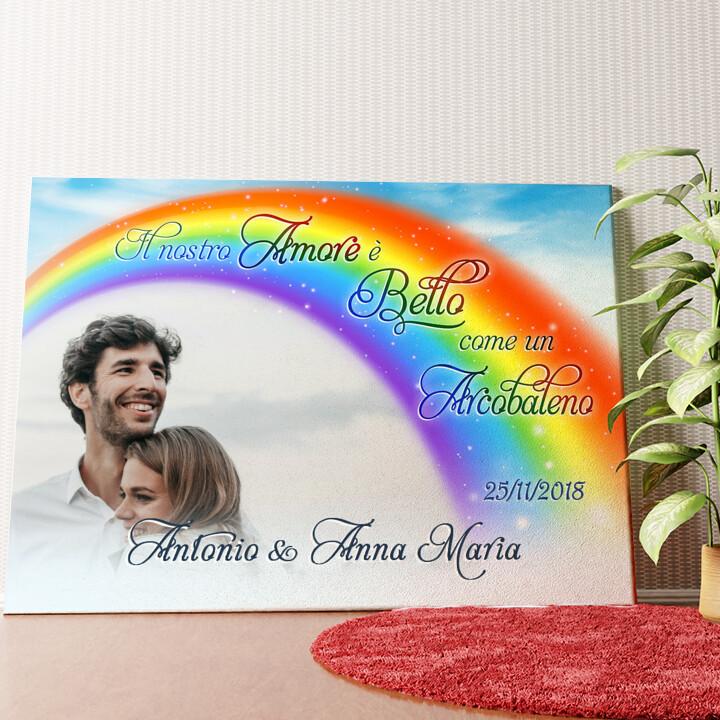 Tela personalizzata L'amore sotto l'arcobaleno