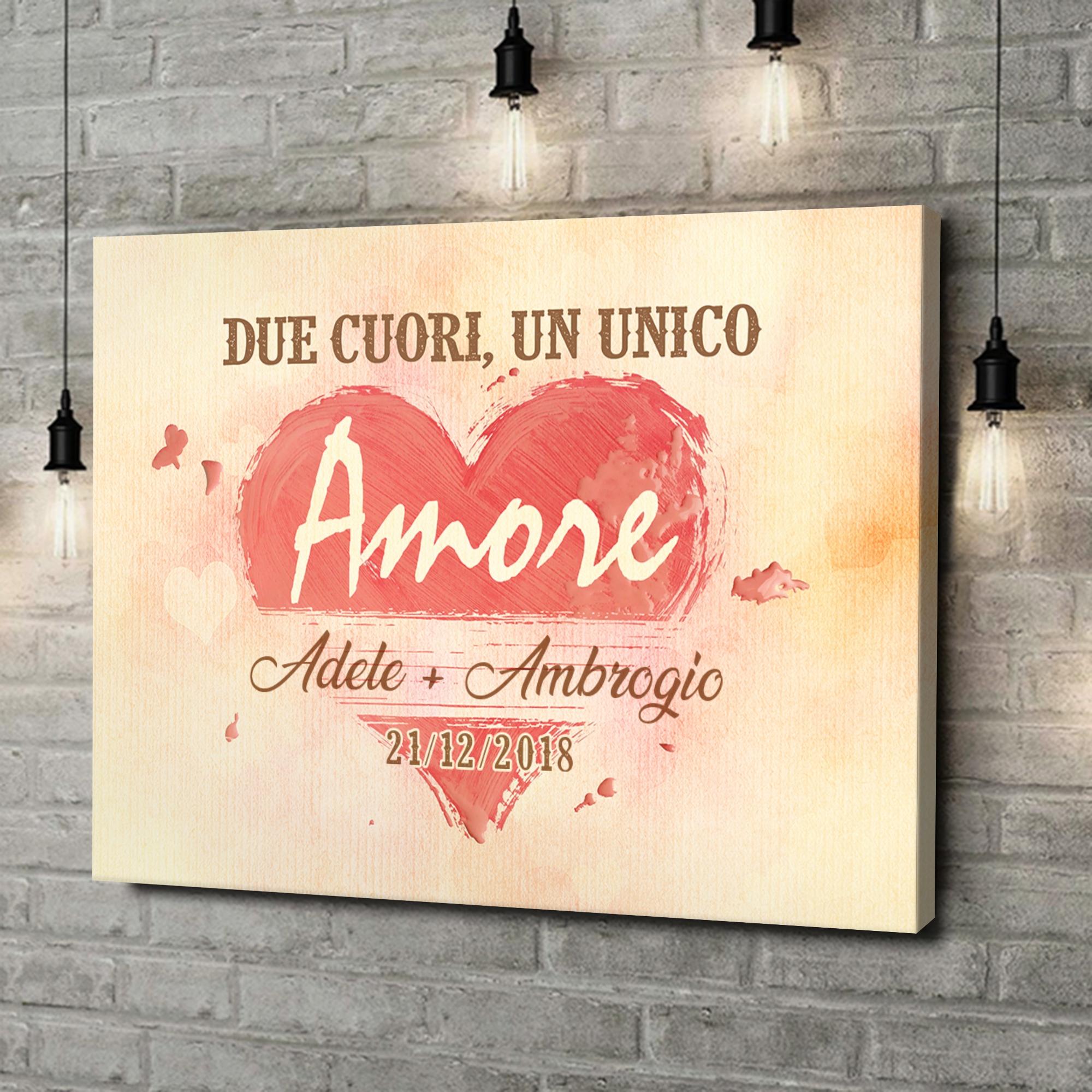 Stampa personalizzata su tela Due cuori, Un solo amore
