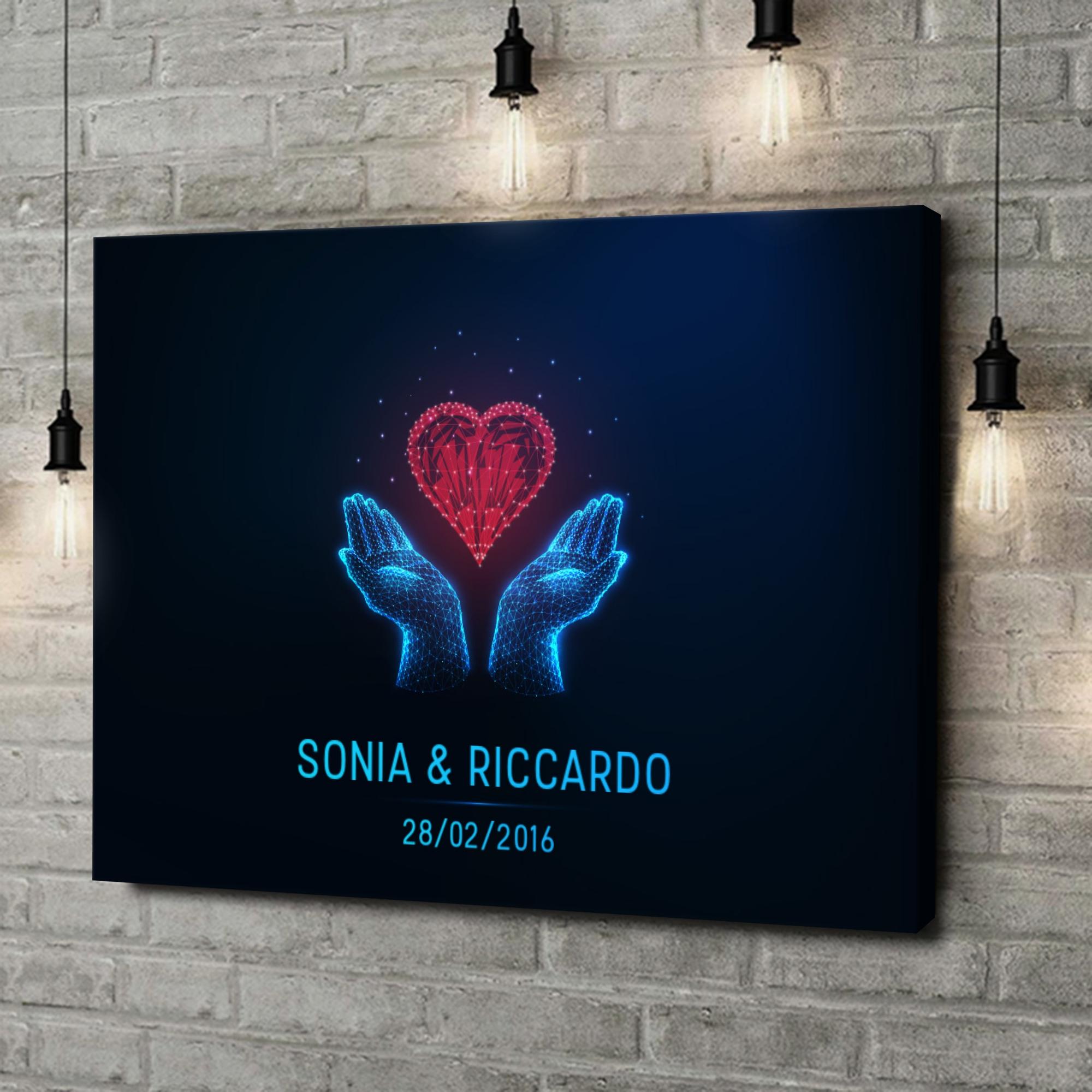 Stampa personalizzata su tela Amore nelle tue mani