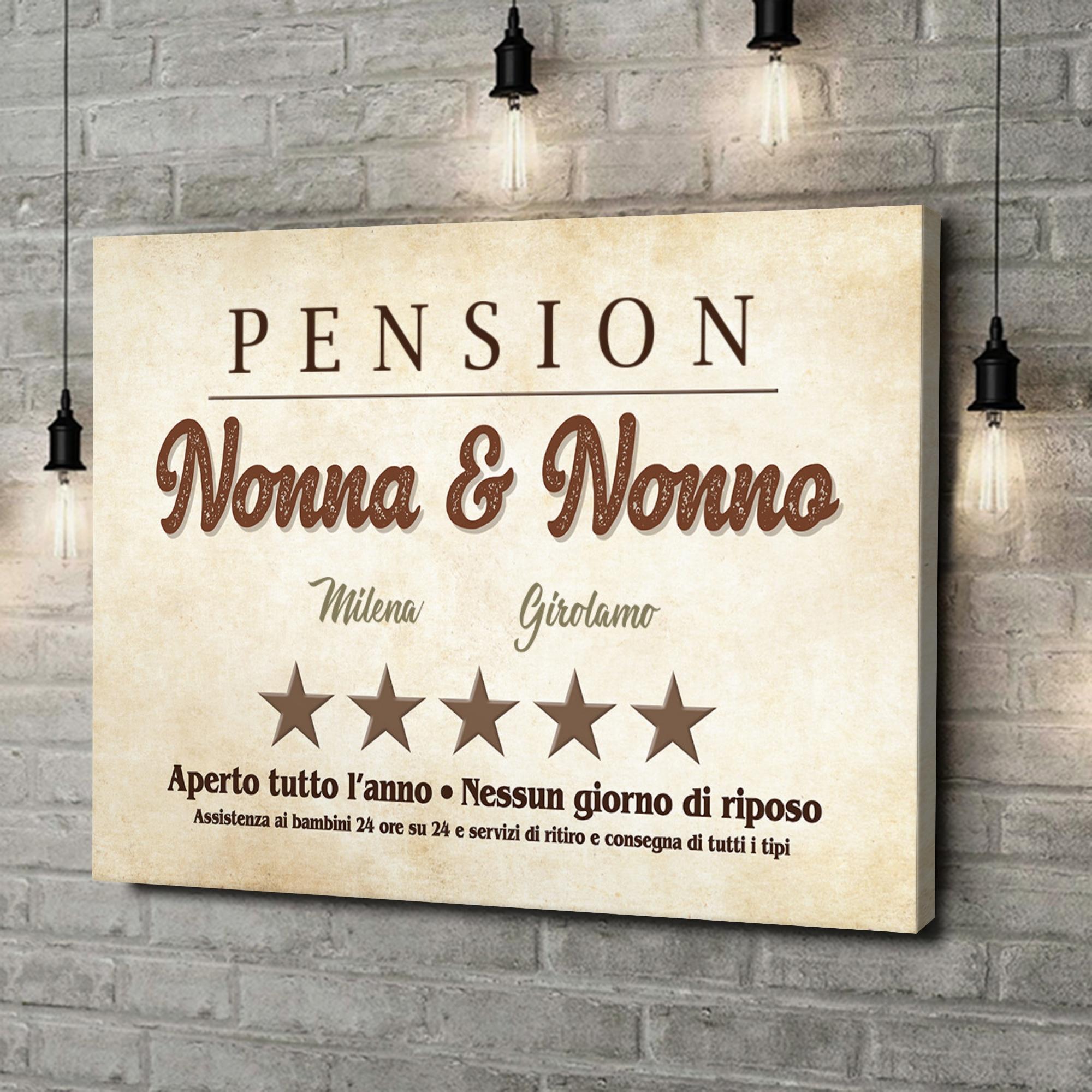 Stampa personalizzata su tela Pensione Nonna & Nonno