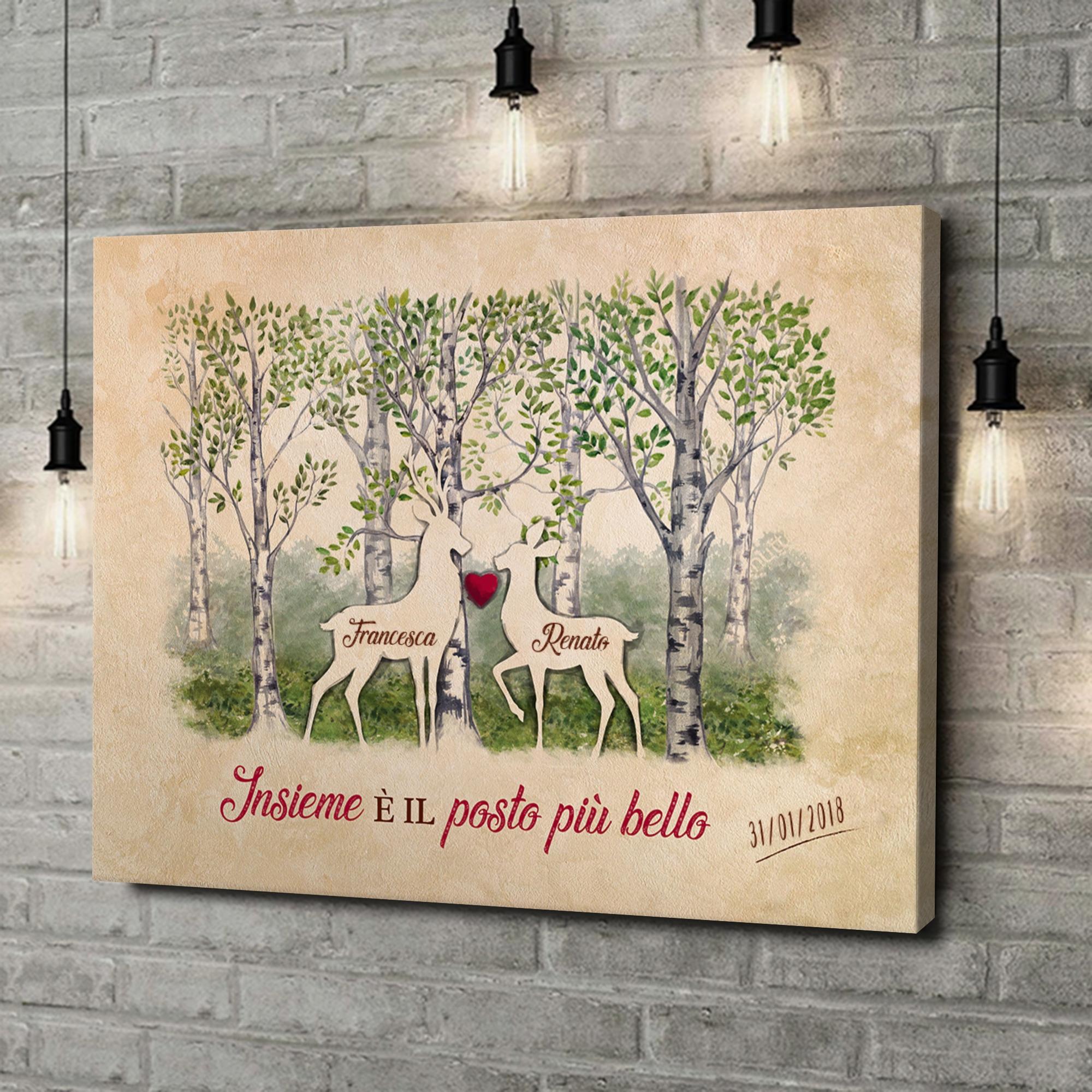 Stampa personalizzata su tela Storia d'amore nei boschi