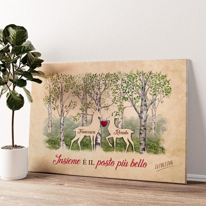 Storia d'amore nei boschi Tela personalizzata