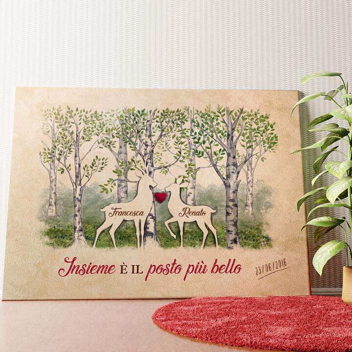 Tela personalizzata Storia d'amore nei boschi