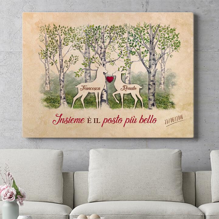 Regalo personalizzato Storia d'amore nei boschi