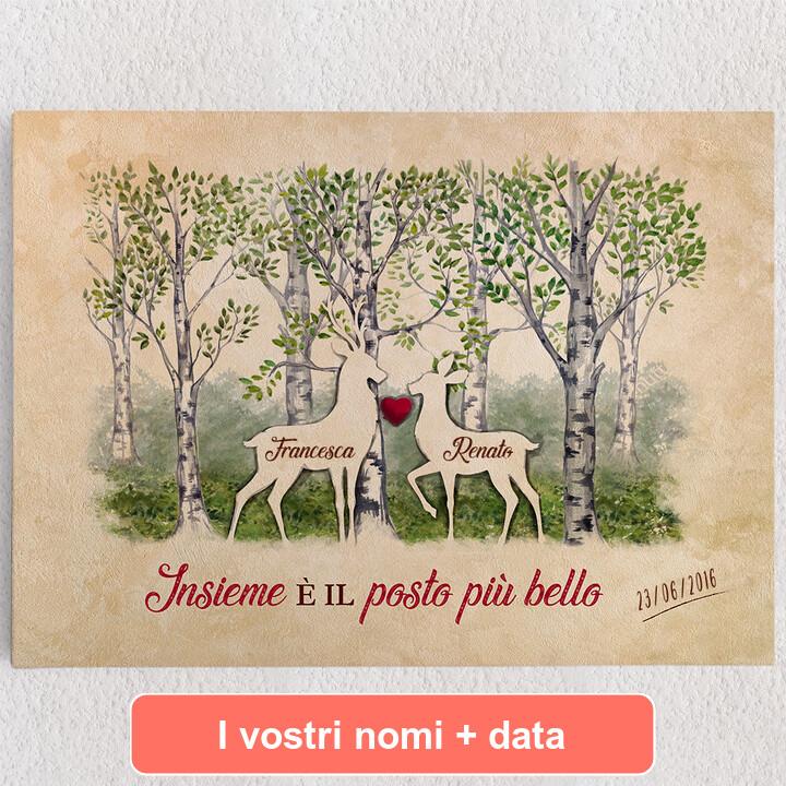 Tele personalizzate Storia d'amore nei boschi
