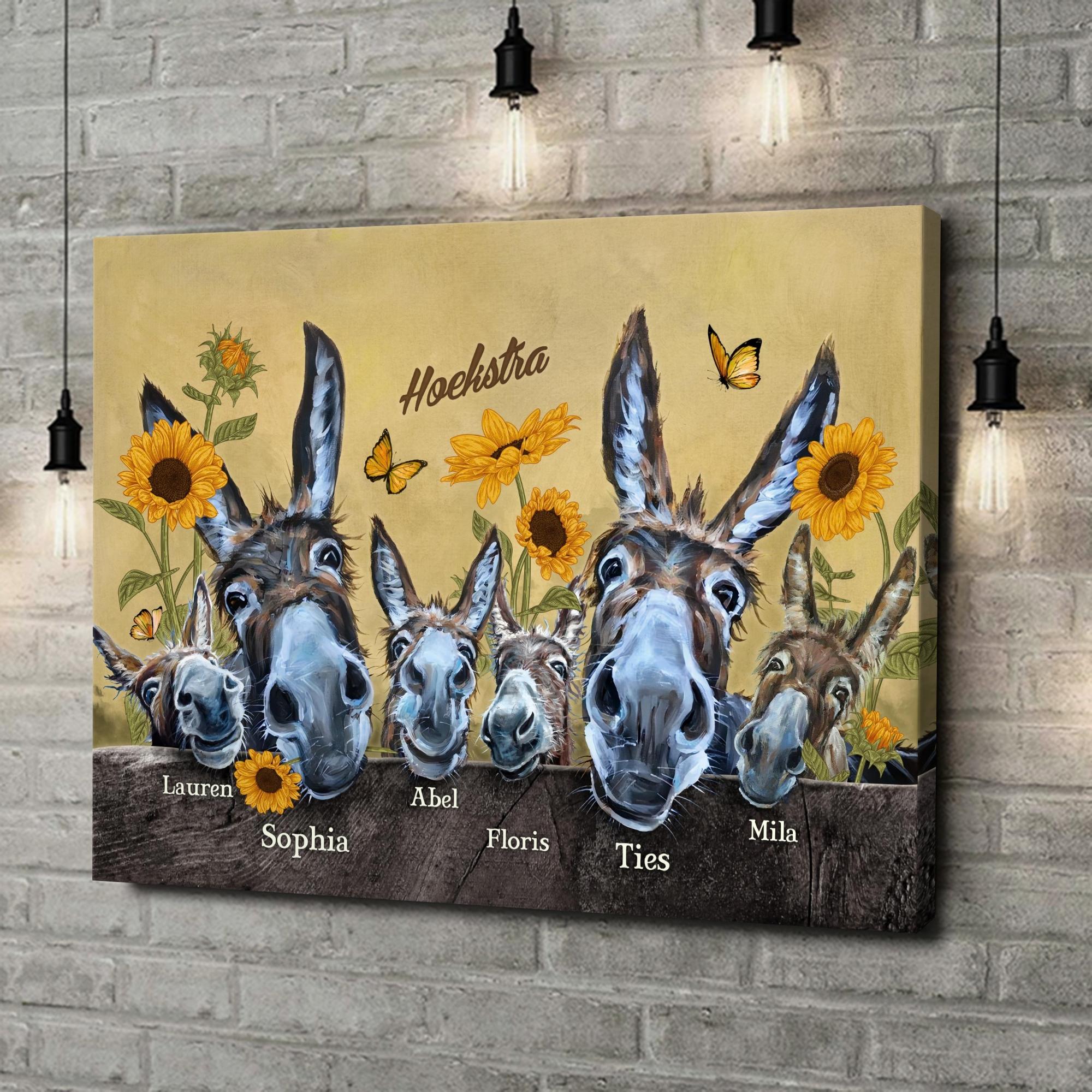 Gepersonaliseerde canvas print Ezelfamilie