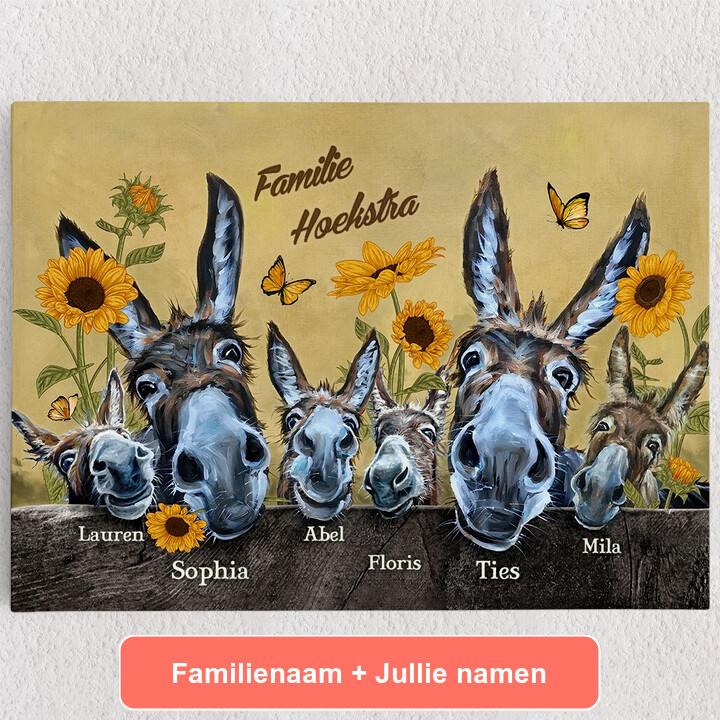 Gepersonaliseerde Canvas Ezelfamilie