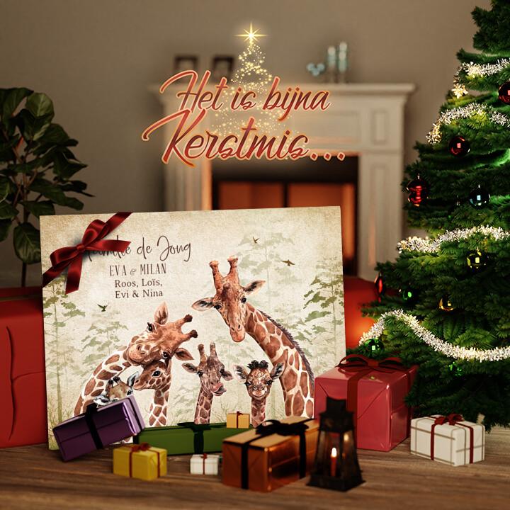 Canvas Cadeau Giraffenfamilie