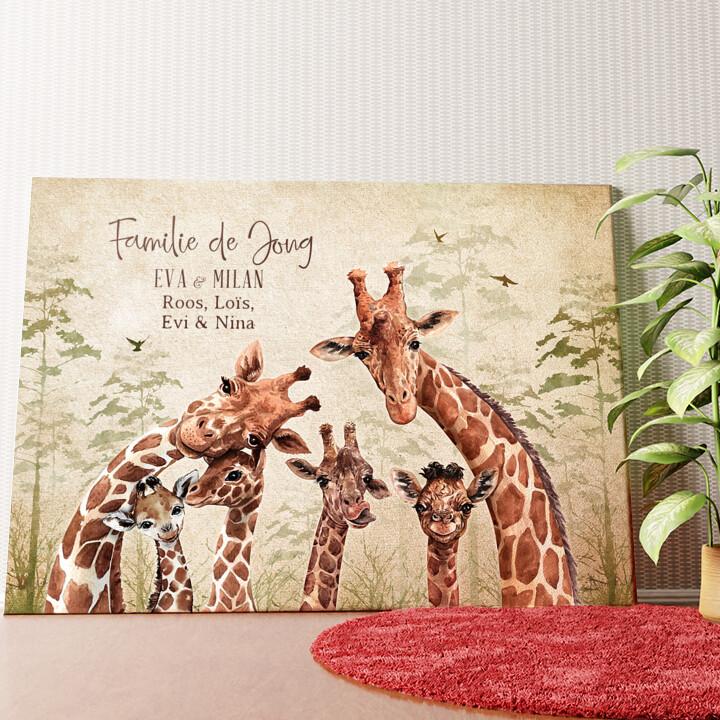 Gepersonaliseerde muurschildering Giraffenfamilie