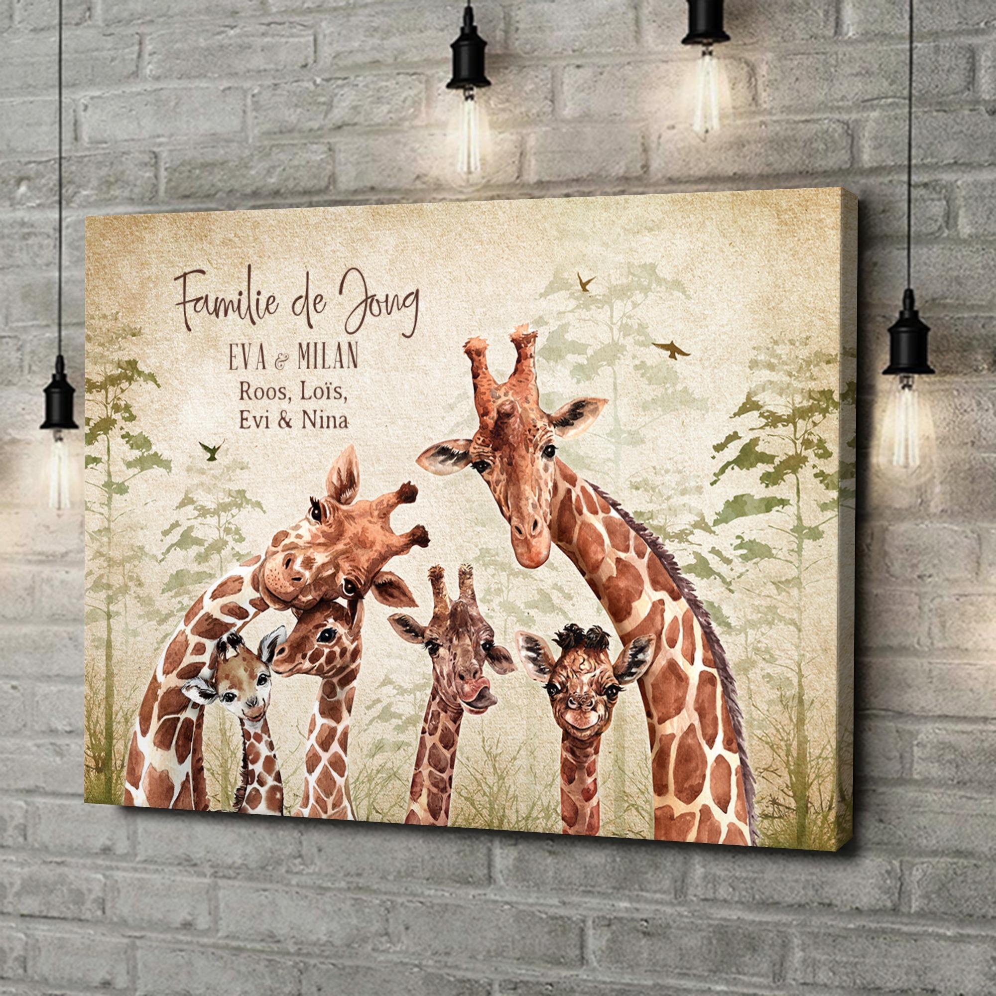 Gepersonaliseerde canvas print Giraffenfamilie