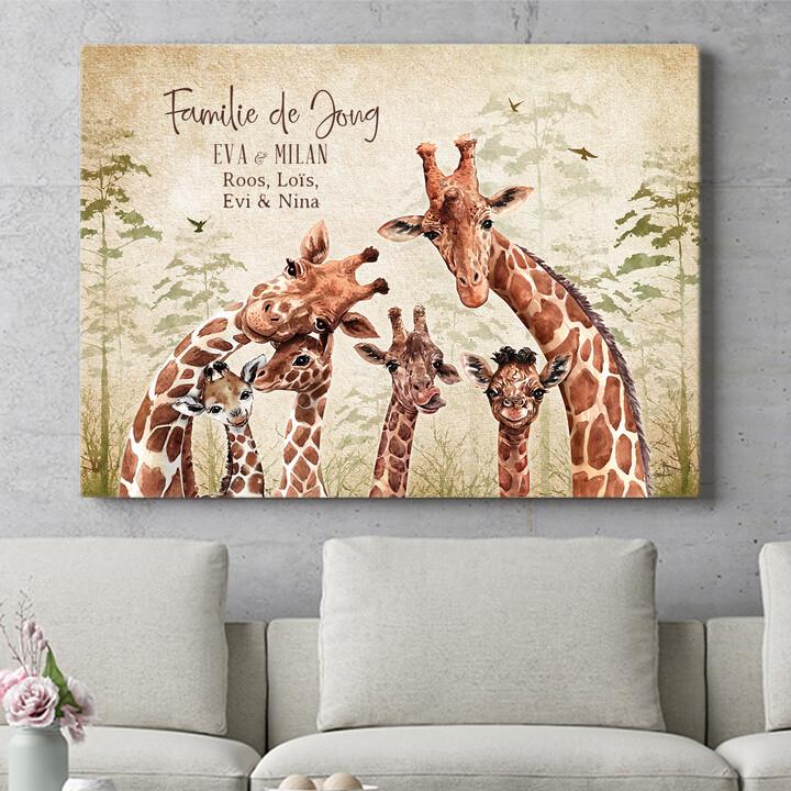Personaliseerbaar cadeau Giraffenfamilie