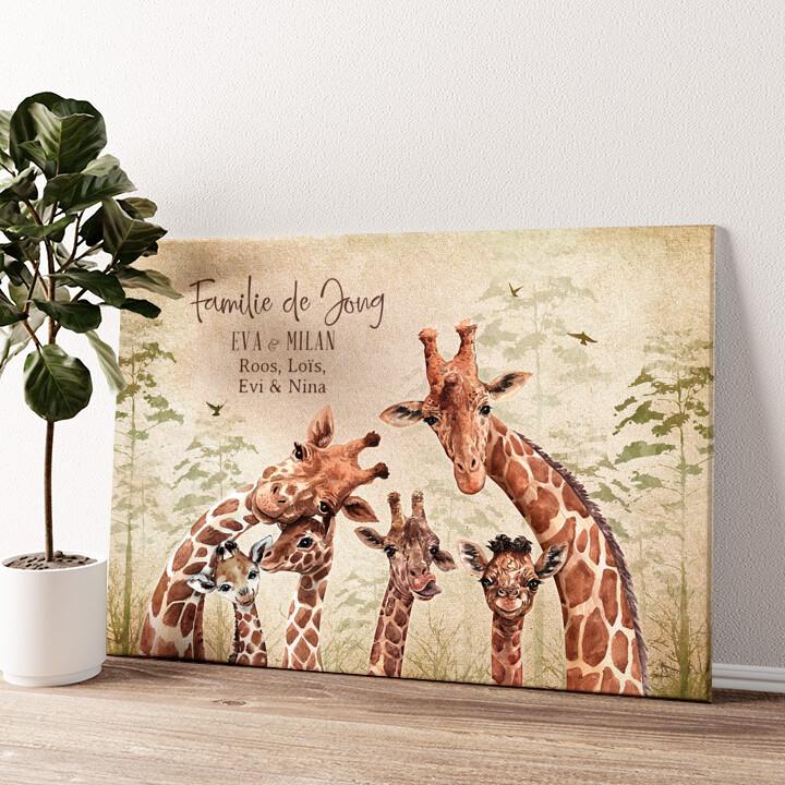 Giraffenfamilie Gepersonaliseerde muurschildering