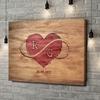 Gepersonaliseerde canvas print In het hart gegraveerd