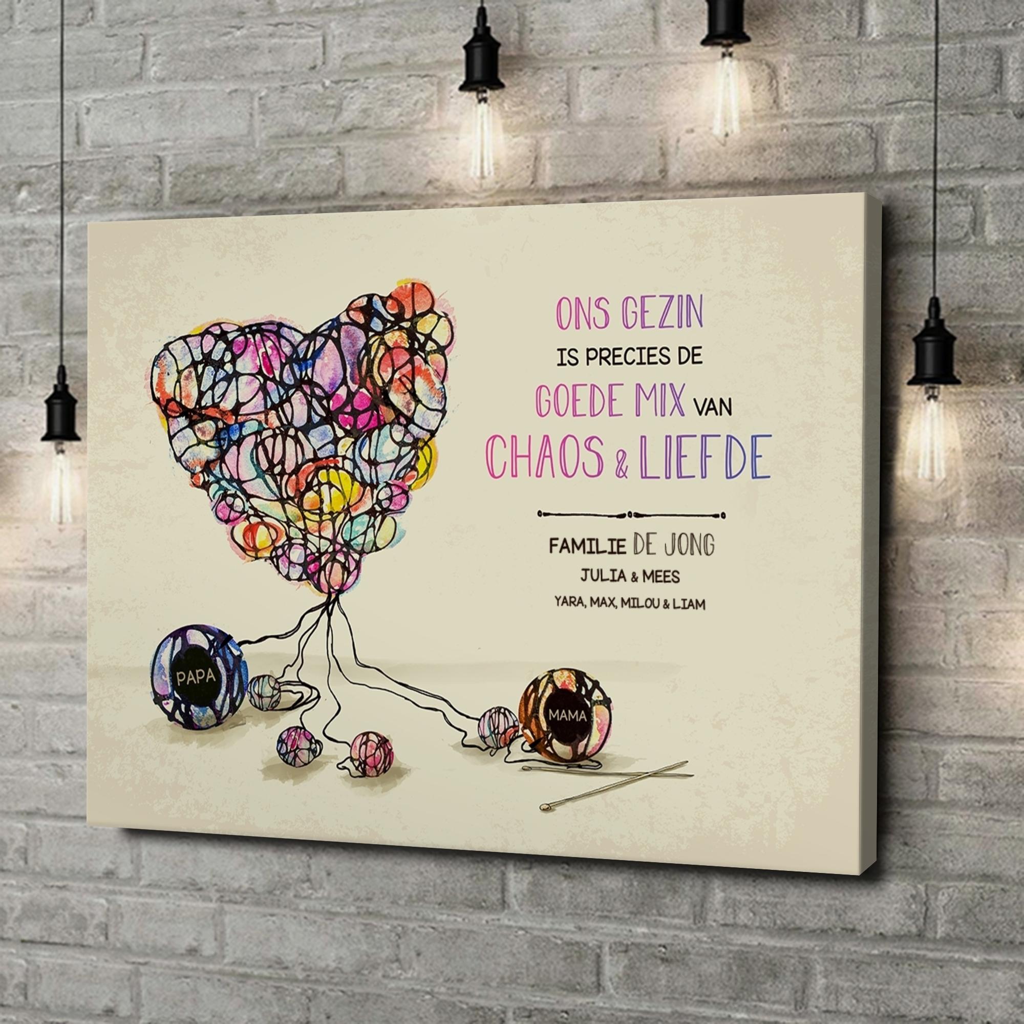 Gepersonaliseerde canvas print Breipatroon voor de liefde