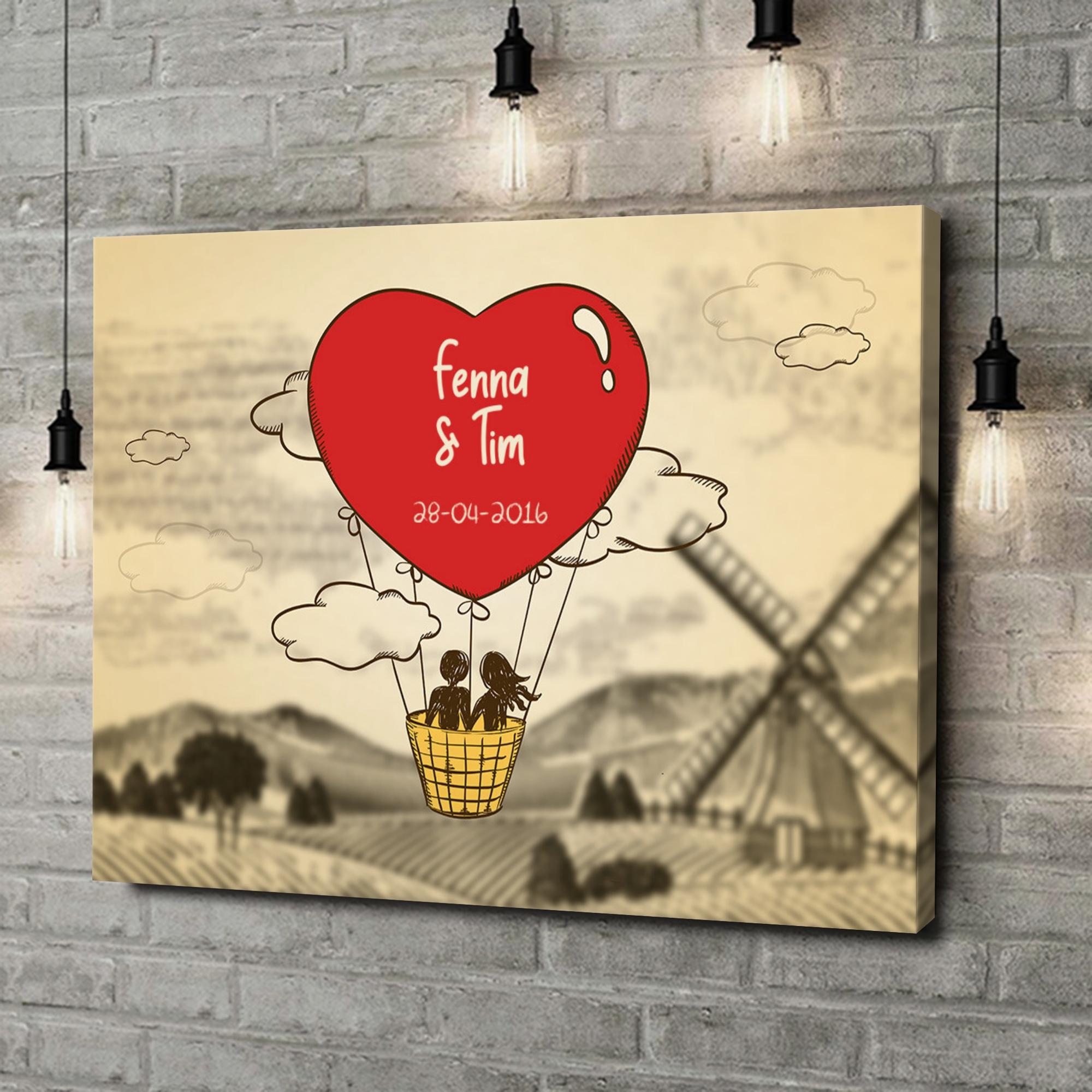 Gepersonaliseerde canvas print Liefdesvlucht