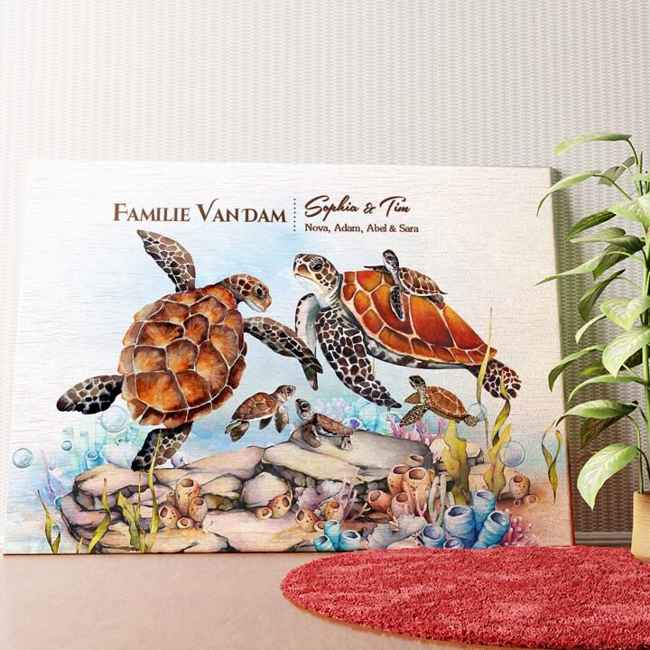 Gepersonaliseerde muurschildering Schildpadfamilie