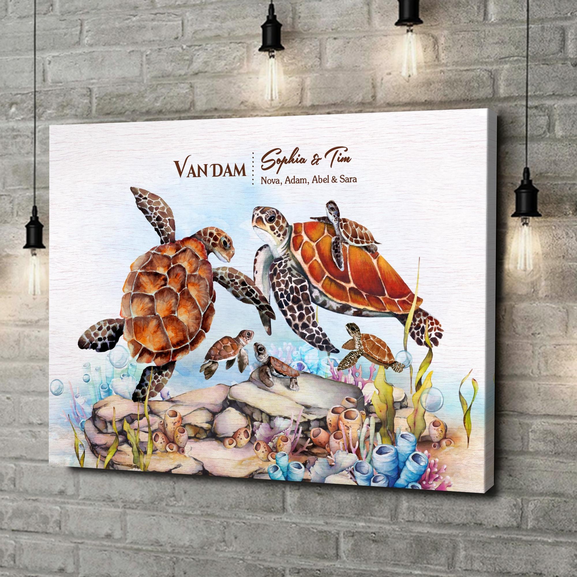 Gepersonaliseerde canvas print Schildpadfamilie