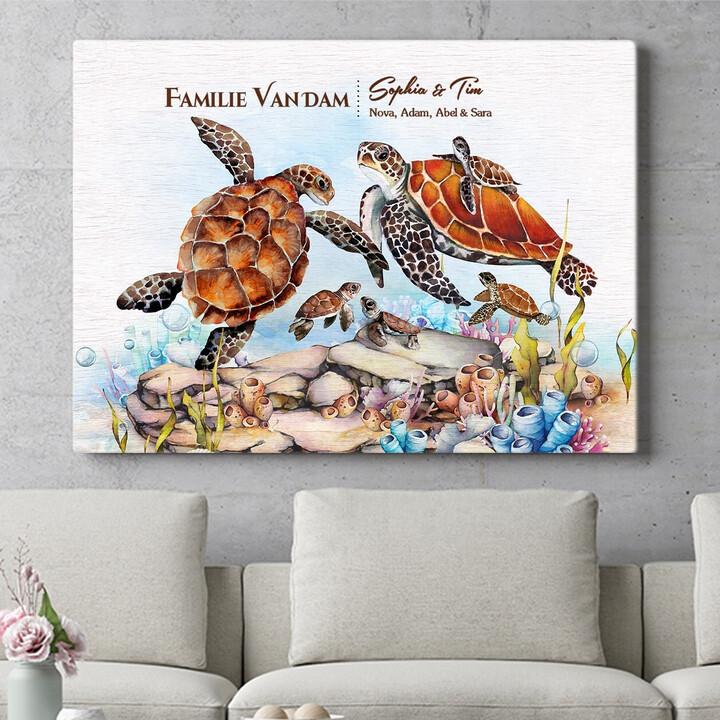 Personaliseerbaar cadeau Schildpadfamilie